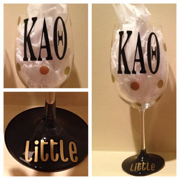 Kappa Alpha Theta, Personalized Wine Glass, Sorority Wine Glass, Custom Wine Glass, Big WIne Glass, Little Wine Glass