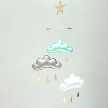 "Mint,grey,White cloud mobile for nursery with gold star ""NICKI "" by The Butter Flying-Rain Cloud Mobile Nursery Children Decor"