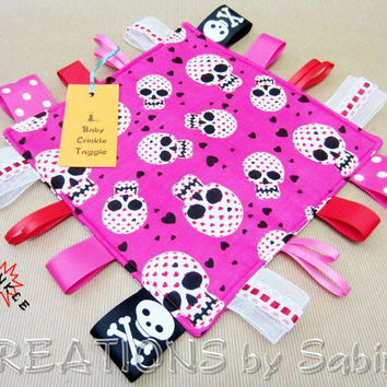 Baby Crinkle Taggie Toy, Ribbon Sensory, Tag Blanket, Girl, Pink, Black, White, Red, Sugar Skulls, Hearts PADDED
