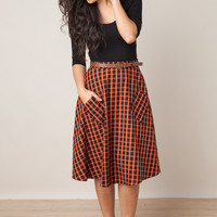 In The Valley Plaid Orange Skirt