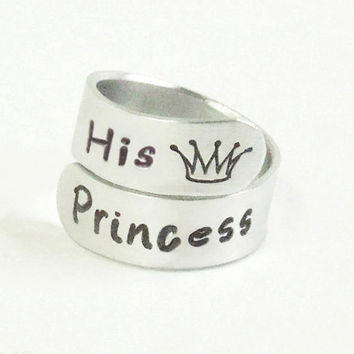 Princess ring Valentines gift Girlfriend ring - His Princess - Gift for wife - Gift for her - Boyfriend gift - Stamped jewelry - Crown ring