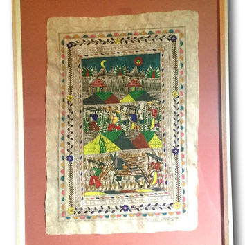 Vintage MCM Amate Folk Art Mexican Painting - Signed