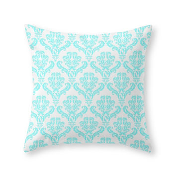 Society6 DAMASK AQUA BLUE Throw Pillow