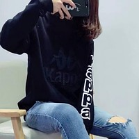 Kappa Woman Men Embroidery Long Sleeve Top Sweater Pullover