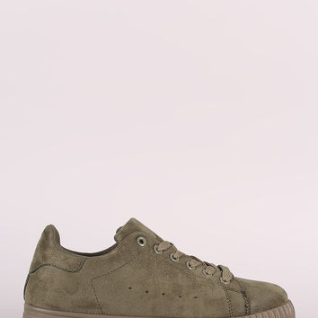 Qupid Suede Low Top Lace Up Sneaker