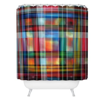 Madart Inc. Multi Abstracts Plaid Shower Curtain