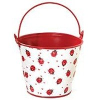 Decorative Ladybug Tin Pail For Plants, Flower, Home Decor