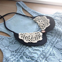 peterpan  felt collar necklace - Handmade with black felt and lace - READY TO SHIP