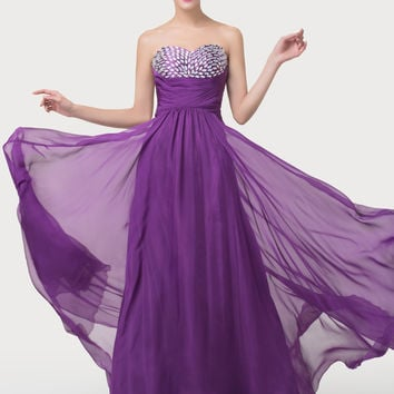 Purple Strapless Beaded Cutout Bow Knot Maxi Dress