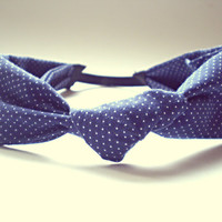 Blue Polka Dot Knotted Turban Headband Hair Accessories 100% Cotton Headband Bohemian Headband Christmas Gift