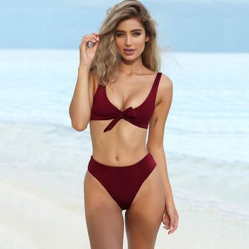KRIATIV bikini sets swimwear women nylon 2018 swimsuit 2 piece swimsuit women push up low waist solid