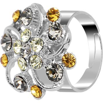 Feminine Exotic Flower Adjustable Ring