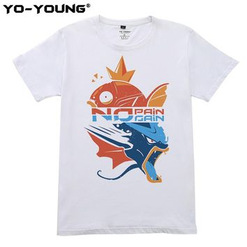 No Pain No Gain T Shirts Men Magikarp Gyarados Design Digital Printing 100% 180 gsm Combed Cotton Casual CustomizedKawaii Pokemon go  AT_89_9
