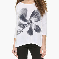 White Floral Print Casual Top