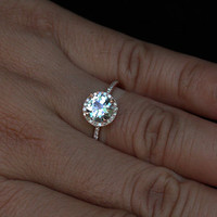 Rose Gold Aquamarine Engagement Ring Round 7mm in 14k Rose Gold with Diamond Halo