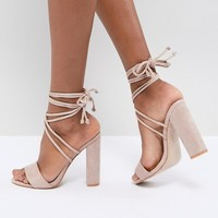Public Desire Suzu Tie Up Block Heeled Sandals at asos.com