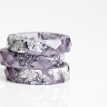 smoky purple and silver size 5.5 thin multifaceted eco resin ring