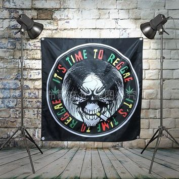 """Bob Marley"" Reggae Pop Rock Band Poster Big Four-Hole Hanging Cloth Flags Personality Banners Music Studio Bar Cafe Home Decor"