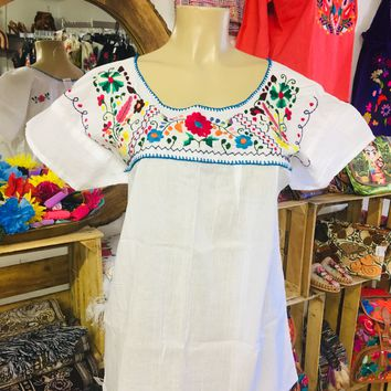 Mexican Tehuacan Embroidered Blouse White Large