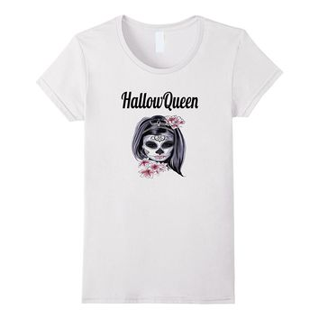 HallowQueen- Halloween Lover Skull Flower T-Shirt