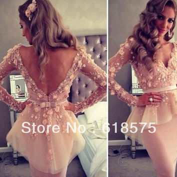 Myriam fares Pink Cocktail Dresses 2015 Party Dresses Sheer Long Sleeve with Peplum Short Tulle Vestido