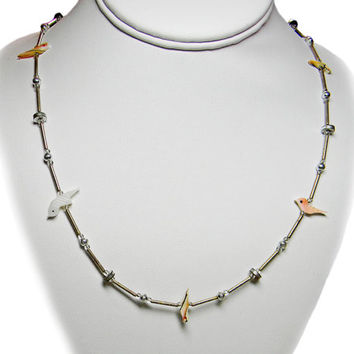 Bird Fetish Necklace Carved Mother of Pearl MOP Silver Beads