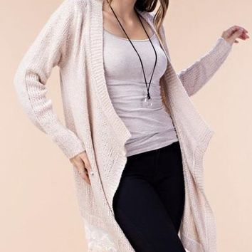 Open Front Cardigan Bottom Lace Trim