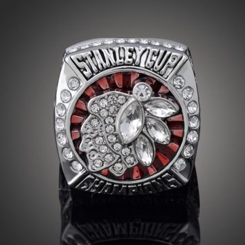 Crystals Large Rings 2013 Chicago Team Captain Stanley Cup Championship Ring Metal Jewelry NHL