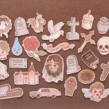 funerary sticker set ~ 25 pack