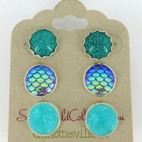 Trio Silver-Tone Stud Earrings Aqua Blue Faux Druzy Stone Mermaid Scale Glitter