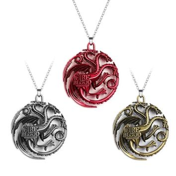 Game Of Thrones Pendant Necklace Song of Ice House Lannister Targaryen Daenery Dragon Dragonlord Logo Vintage Gaes Necklace
