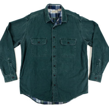 Vintage LL Bean Denim Shirt in Green - Button Down Flannel Plaid Forest Outdoors Ivy League Menswear - Men's Size Large Tall Lrg L