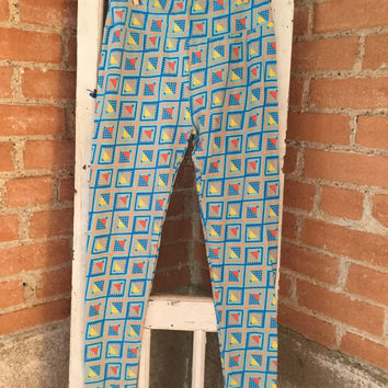 Adult Leggings, One Size Blue Gray Background with Yellow and Orange Geometric Print