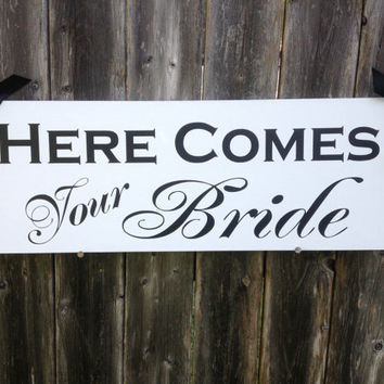 Here Comes Your Bride - One sided - Here Comes the Bride, Ring Bearer sign, Flower girl sign, Disney Wedding Sign, Wedding Photo Prop