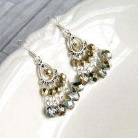 chandelier earrings, silver earrings, gifts for women, silver sparkles