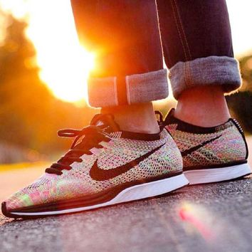 NIKE Trending Women Men Fashion Casual Running Sports Shoes Rainbow Rose red knit Sneakers Yellow