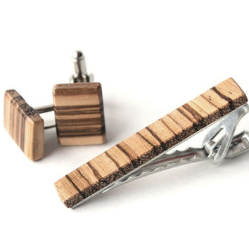 Wooden Tie Clip and Cuff Link Set, Zebrawood, Brown and Beige, Wedding Day, Fathers Day, Groomsmen Gift, Best Man Gift