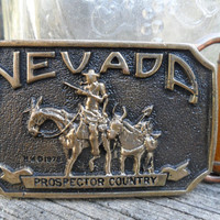 70's Vintage Bronze Belt Buckle & Leather Belt- NEVADA by Heritage Mint - Registered Collection