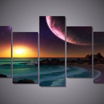 Universe Sunset Divide 5-Piece Wall Art Canvas
