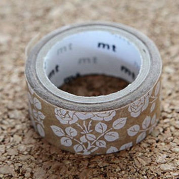 Flower, Japanese Washi Paper Masking Tape - mt fab, Wax Paper - Natural Brown, White Scrapbooking, Decor, Kawaii Deco Collage, Gift Wrapping