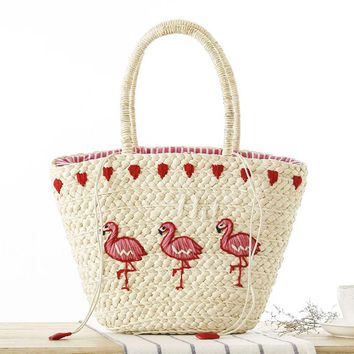 Flamingo / Cactus Woven Straw Beach Bag