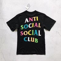 """Anti Social Social Club"" Unisex Casual Fashion Personality Multicolor Letter Logo Print Short Sleeve Couple T-shirt Top Tee"