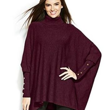 Alfani Women Long Sleeve Poncho Turtleneck Sweater Plus Size 3x New Wine