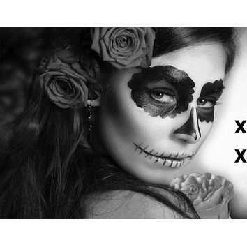 Day of The Dead Woman with Sugar Skull Face Paint - Airbrush Stencil
