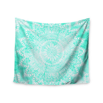 "Nika Martinez ""Boho Flower Mandala in Teal"" Aqua Green Wall Tapestry"