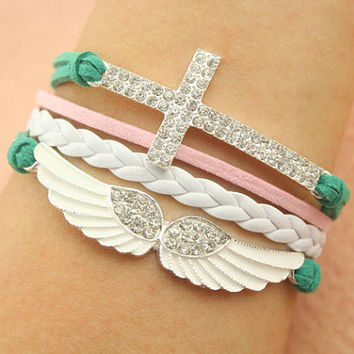 Angel bracelet--cross wing bracelet,antique silver charm bracelet,green leather and white braid leather