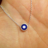 Silver Evil Eye Necklace /Blue Evil Eye Jewelry / Protection Jewellery / Friend Gift / Silver Nazar Jewelry / Layered Nazar Necklace / N260a