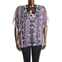 Style & Co. Womens Plus Chiffon Printed Blouse