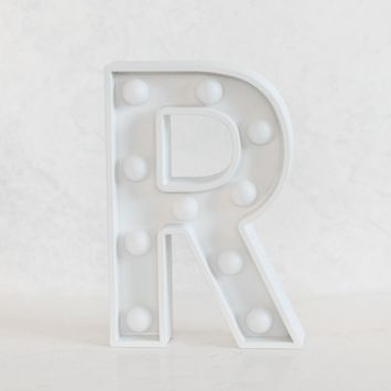 R Initial White Marquee Light