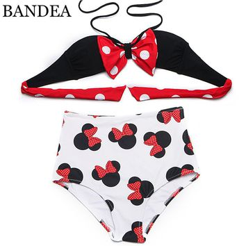 BANDEA New Bikinis Summer Bikini Bustier Top High Waisted lovely Character Swimsuit swimwear Women and Lady Bikini